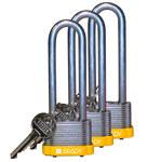 Brady Yellow Steel 5-pin Keyed & Safety Padlock 123255 - 1 5/16 in Width - 1 1/5 in Height - 17/64 in Shackle Diameter - 1 Key(s) Included - 754473-72007
