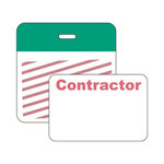 Brady Securalert Green Identification Label 95656 - Printed Text = CONTRACTOR - Clip - 3 in Width - 3 in Length - 754476-95656