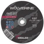 Weiler Aluminum Oxide Cutoff Wheel - Type 1 (Straight) - 36 Grit Medium Grade - 4 in Diameter - 3/8 in Center Hole - 1/8 in Thickness - 56099