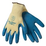 Tillman 1760 Yellow/Blue Large Rubber Work Gloves - Latex Palm & Fingers Coating - 9 in Length - Rough Finish - 1760LG