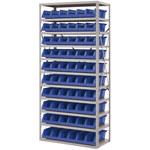 Akro-Mils Blue Gray Steel 22 ga System Bin Shelving System - 10 Bins - AS1879318 BLUE