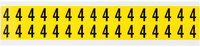 Brady 34 Series 3420-4 Black on Yellow Vinyl Cloth Number Label - Indoor - 9/16 in Width - 3/4 in Height - 5/8 in Character Height - B-498