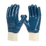 Armor Guys Duty 06-003 Blue/White Large Jersey Work Gloves - Nitrile Full Coverage Except Cuff Coating - 06-003-L