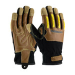 PIP Maximum Safety 120-4100 Black/Brown/Yellow Large Split Goatskin Kevlar/Leather/Spandex Work Gloves - 9.75 in Length - 120-4100/L