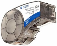 Brady Permasleeve M21-125-C-342 Black on White Polyolefin Continuous Thermal Transfer Printer Label Cartridge - 0.125 in Width - 7 ft Length - B-342