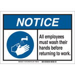Brady B-869 Rectangle White Sanitation Sign - 10 in Width x 7 in Height - 145750