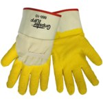 Global Glove Gripster Tuff 660 White/Yellow XL Canvas/Cotton Work Gloves - Rubber Full Coverage Except Cuff Coating - Rough Finish - 660/XL