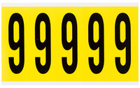 Brady 34 Series 3460-6 Black on Yellow Vinyl Cloth Number Label - Indoor - 1 3/4 in Width - 5 in Height - 3 7/8 in Character Height - B-498