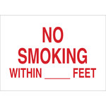 Brady B-302 Polyester Rectangle White No Smoking Sign - 10 in Width x 7 in Height - Laminated - 88453
