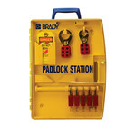 Brady Yellow Polypropylene Padlock Station - 13.25 in Width - 17 in Height - 5 Padlock Capacity - 754476-03456