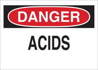 Brady B-555 Aluminum Rectangle White Chemical Warning Sign - 14 in Width x 10 in Height - 43455