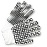 West Chester K708SKHW Black/White Large Cotton/Polyester General Purpose Gloves - Wing Thumb - PVC Criss-Cross Pattern Both Sides Coating - 9.75 in Length - K708SKHW/L