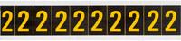 Brady 7890-2 Yellow on Black Vinyl Number Label - Indoor / Outdoor - 7/8 in Width - 1 1/2 in Height - 1 in Character Height - B-946