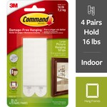 3M Command White Picture Hanging Strips - 3.625 in Length x 0.5 in Width 16 lbs Weight Capacity - 32269