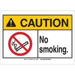 Brady B-401 Plastic Rectangle White No Smoking Sign - 20 in Width x 14 in Height - 143765