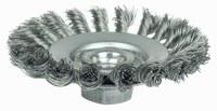 Weiler Steel Wheel Brush 0.014 in Bristle Diameter - Arbor Attachment - 4 in Outside Diameter - 13401