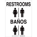 Brady B-555 Aluminum Rectangle White Restroom Sign - 10 in Width x 14 in Height - Language English / Spanish - 38484