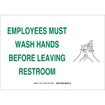 Brady B-555 Aluminum Rectangle White Personal Hygiene Sign - 14 in Width x 10 in Height - 30914