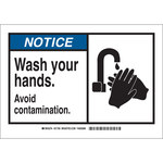 Brady B-401 Polystyrene Rectangle White Personal Hygiene Sign - 10 in Width x 7 in Height - 21700