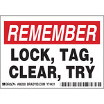 Brady 86250 Black / Red on White Rectangle Polyester Lockout / Tagout Label - 5 in Width - 3 1/2 in Height - B-302