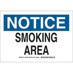 Brady Prinzing Rectangle White Smoking Area Sign - 14 in Width x 10 in Height - 46937