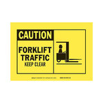 Brady B-555 Aluminum Rectangle Yellow Truck & Forklift Warehouse Traffic Sign - 10 in Width x 7 in Height - 46477