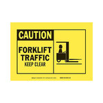 Brady B-302 Polyester Rectangle Yellow Truck & Forklift Warehouse Traffic Sign - 5 in Width x 3.5 in Height - Laminated - 83929