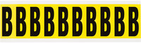 Brady 34 Series 3440-B Black on Yellow Vinyl Cloth Letter Label - Indoor - 7/8 in Width - 2 1/4 in Height - 1 15/16 in Character Height - B-498