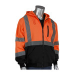 PIP 323-1370B Orange Large Polyester Fleece Cold Condition Sweatshirt - 3 Pockets - Attached Hood - Fits 51.2 in Chest - 30 in Length - 616314-18575