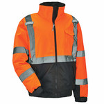 Ergodyne GloWear 8377 Orange/Black Large Polyurethane on Oxford Work Jacket - Rollaway Hood - 720476-25614