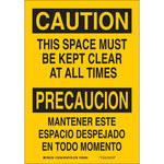 Brady B-555 Aluminum Yellow Keep Clear Sign - 10 in Width x 14 in Height - Language English / Spanish - 125460