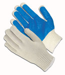 PIP 37-C2110PC Blue/White Large Cotton/Polyester General Purpose Gloves - PVC Palm & Fingers Coating - 10 in Length - 37-C2110PC-BL/L