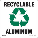 Brady B-7569 Vinyl Square White Recycle & Environment Sign - 5 in Width x 5 in Height - 20634FLS