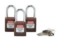 Brady Brown Nylon Steel 6-pin Keyed & Safety Padlock 118947 - 1 1/2 in Width - 1 3/4 in Height - 1/4 in Shackle Diameter - 1 Key(s) Included - 754473-66184