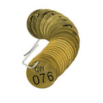Brady 23259 Black on Brass Circle Brass Numbered Valve Tag with Header Numbered Valve Tag with Header - 1 1/2 in Dia. Width - Print Number(s) = 76 to 100 - B-907