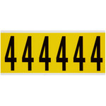 Brady 34 Series 3450-4 Black on Yellow Vinyl Cloth Number Label - Indoor - 1 1/2 in Width - 3 1/2 in Height - 2 15/16 in Character Height - B-498