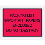 Red Important Papers Enclosed Envelopes - 4.5 in x 6 in - 2 Mil Poly Thick - SHP-8274