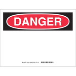 Brady B-140 Fiberglass / Polyester / Vinyl Rectangle White Preprinted Header - Laminated - 37540