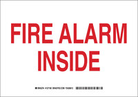 Brady B-555 Aluminum Rectangle White Fire Alarm Sign - 10 in Width x 7 in Height - 127188
