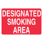 Brady B-555 Aluminum Rectangle Red Smoking Area Sign - 14 in Width x 10 in Height - 98068