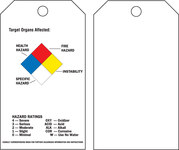 Brady 99103 Black / Blue / Red / Yellow on White Polyester Chemical Hazard Tag - 3 in Width - 5 3/4 in Height - B-851