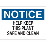 Brady B-401 Polystyrene Rectangle White Keep Clean Sign - 10 in Width x 7 in Height - 22794