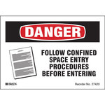 Brady Bradylite 27420LS Black/Red on White Reflective Sheeting Equipment Safety Label - 5 in Width - 3.5 in Height - B-997