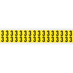 Brady 34 Series 3420-3 Black on Yellow Vinyl Cloth Number Label - Indoor - 9/16 in Width - 3/4 in Height - 5/8 in Character Height - B-498