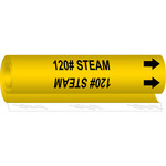 Brady 5613-I Black on Yellow Polyester Steam Wrap-Around Pipe Marker - 3/4 in Character Height with Right Arrow - B-689