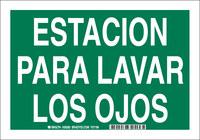 Brady B-555 Aluminum Rectangle Green Eyewash Sign - 10 in Width x 7 in Height - Language Spanish - 38282
