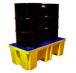 Brady Blue/Yellow 68.7 gal Spill Pallet SC-DP2 - Supports 2 Drums - 26 in Width - 52 in Length - 17 in Height - 662706-83255