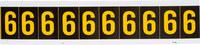 Brady 7890-6 Yellow on Black Vinyl Number Label - Indoor / Outdoor - 7/8 in Width - 1 1/2 in Height - 1 in Character Height - B-946