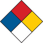 Brady 53061 Black / Blue / Red / Yellow on White Square Paper Right-To-Know Label - 2 in Width - 2 in Height - B-235