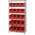 Red Shelves With Bins - 36 in x 18 in x 74 in - SHP-3174